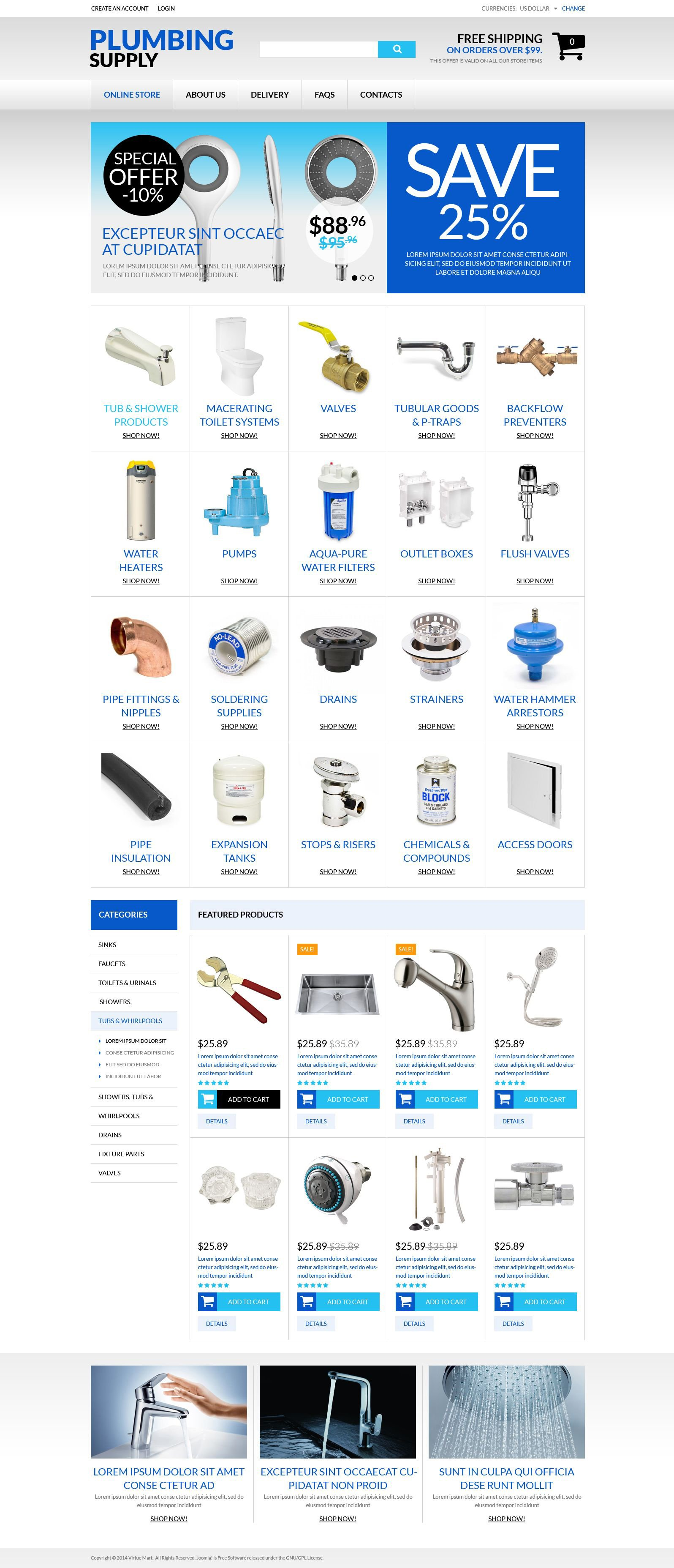 Durable Plumbing Fixtures VirtueMart Template