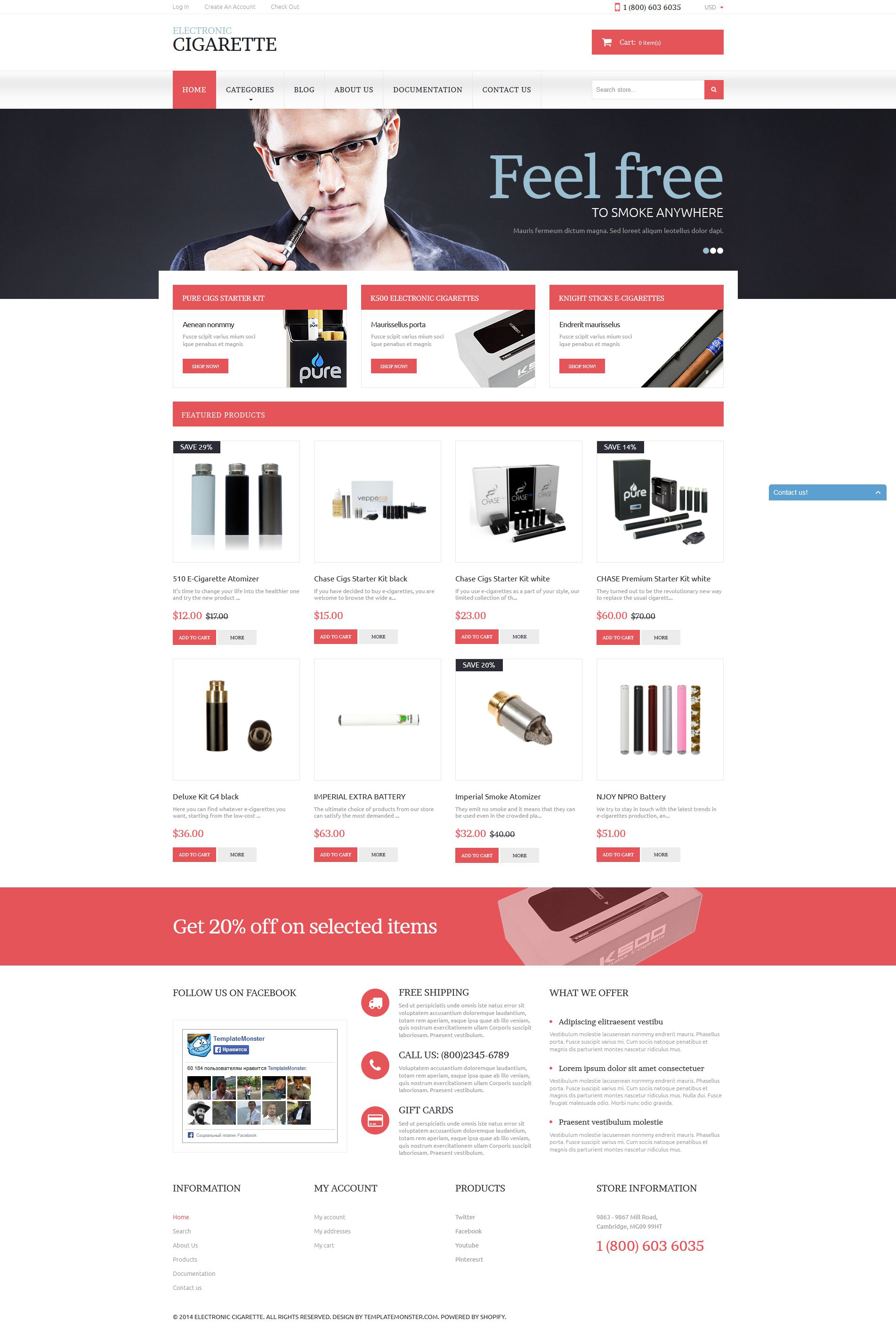 """""""Electronic Cigarettes"""" Responsive Shopify Thema №51785"""