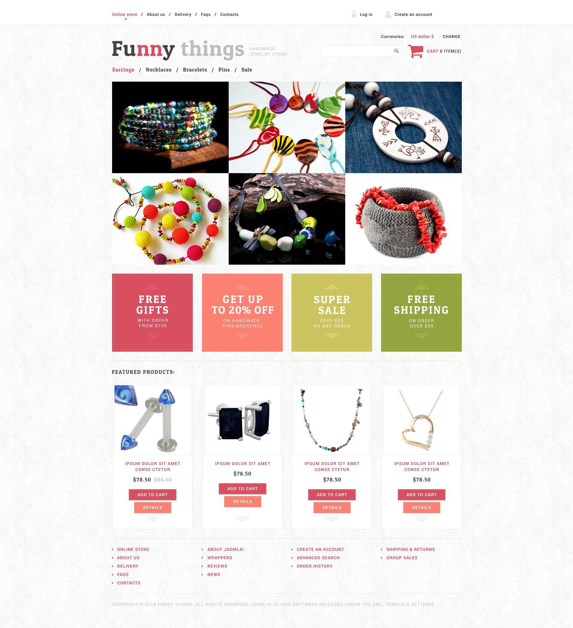 """""""Exquisite Handmade Jewelry"""" VirtueMart Template №51796 - screenshot"""