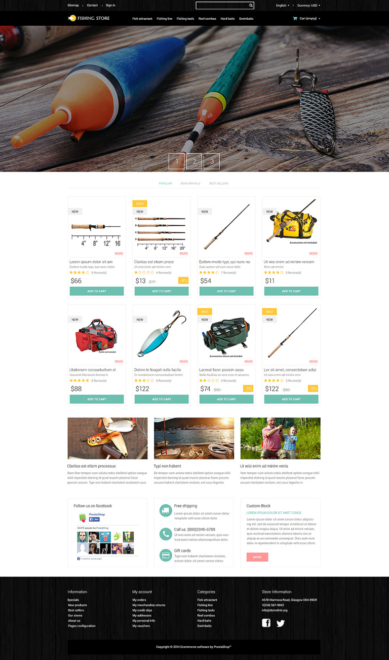 Fishing Accessories PrestaShop Theme New Screenshots BIG