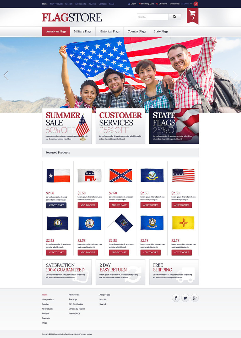 Flags Promotion ZenCart Template New Screenshots BIG