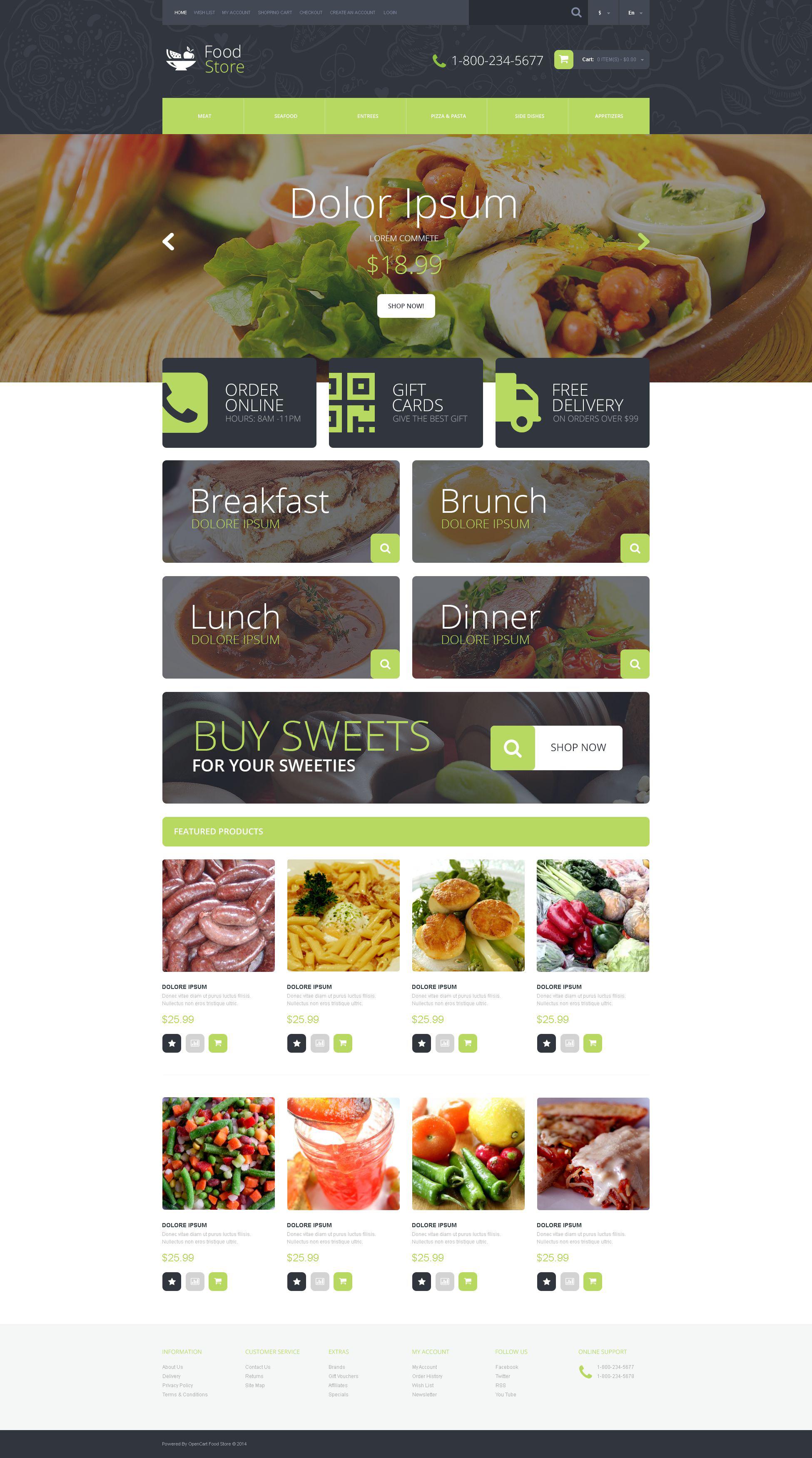 """Food Shop"" 响应式OpenCart模板 #51775 - 截图"