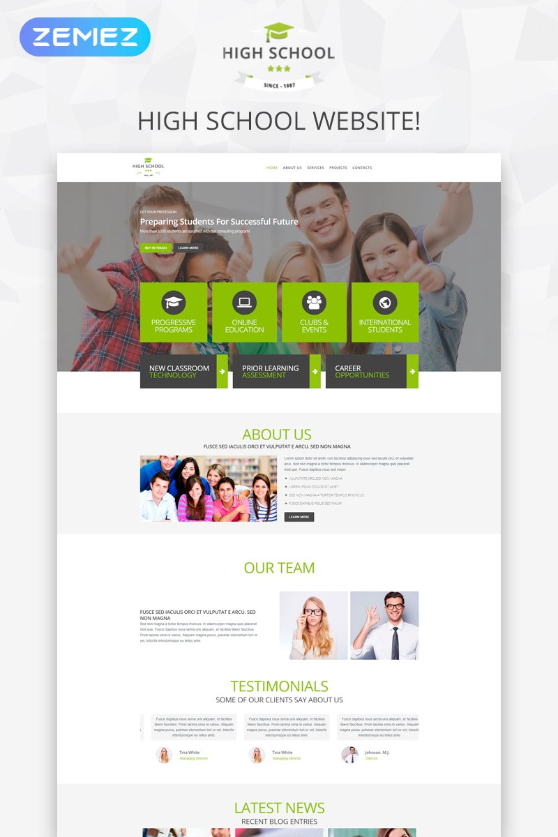 """High School Promotion"" thème WordPress adaptatif #51770"