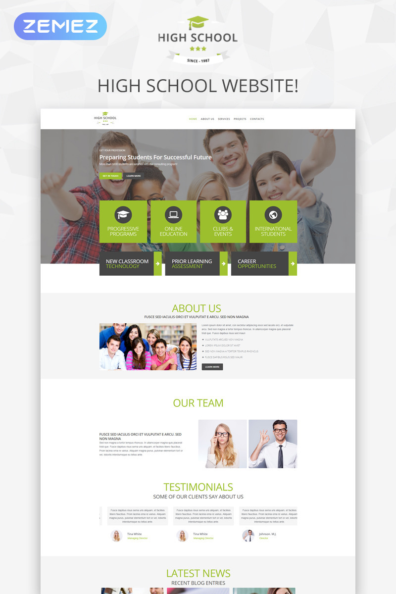 High School Promotion WordPress Theme New Screenshots BIG