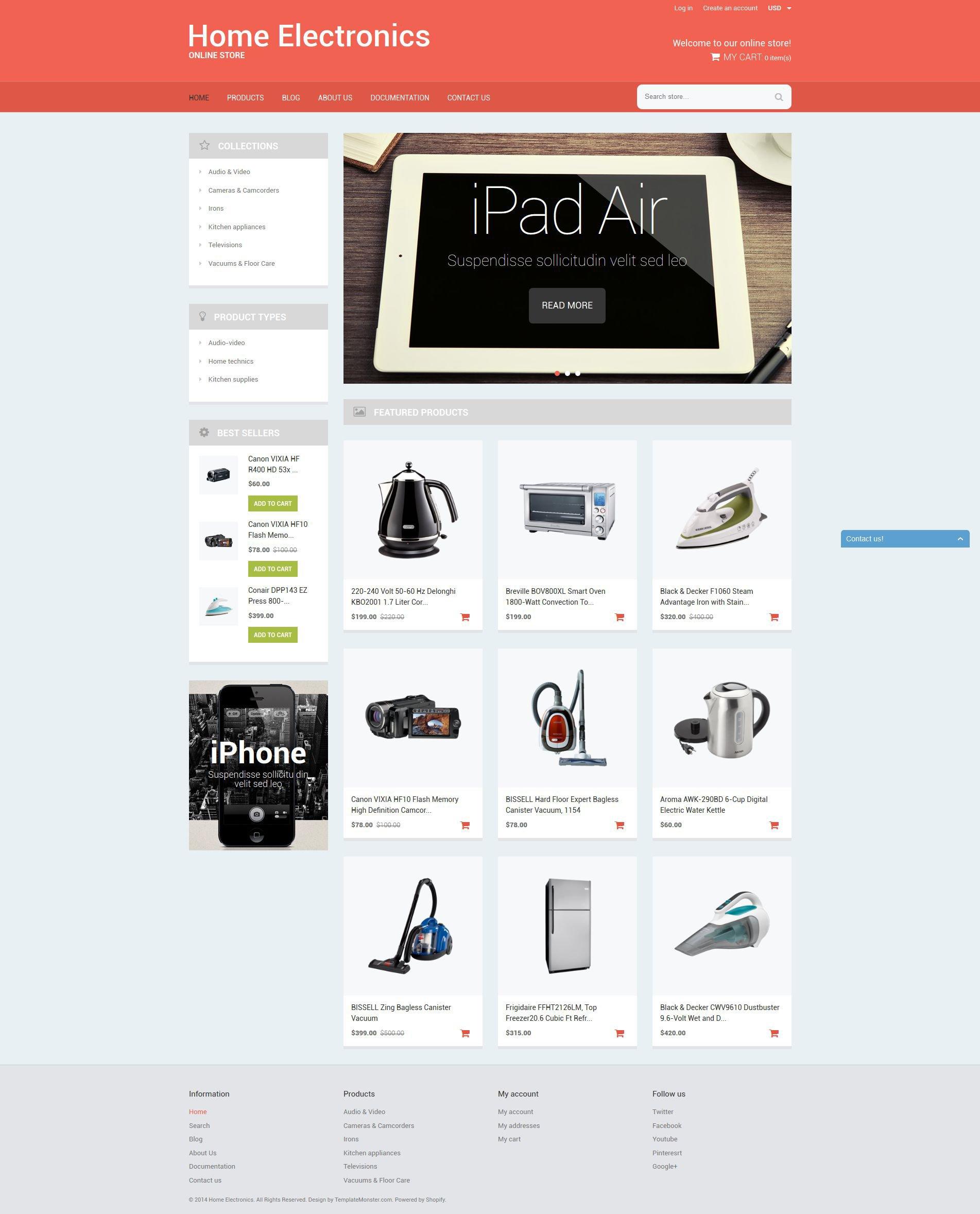"""Home  Office Tech Gear"" 响应式Shopify模板 #51786 - 截图"