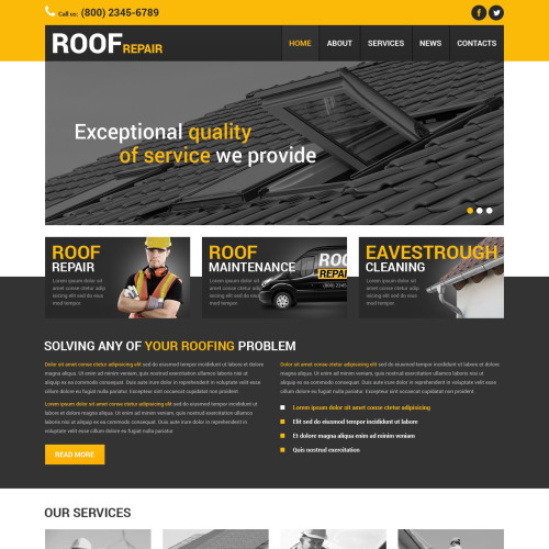 Roof Repair - Joomla! Template based on Bootstrap