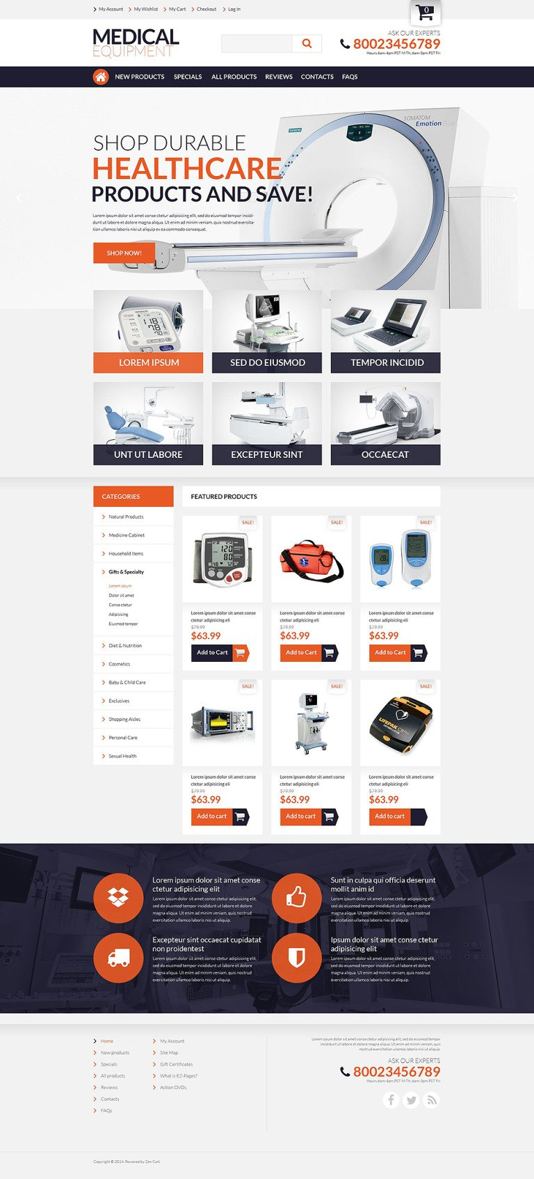 Medical Supplies ZenCart Template New Screenshots BIG