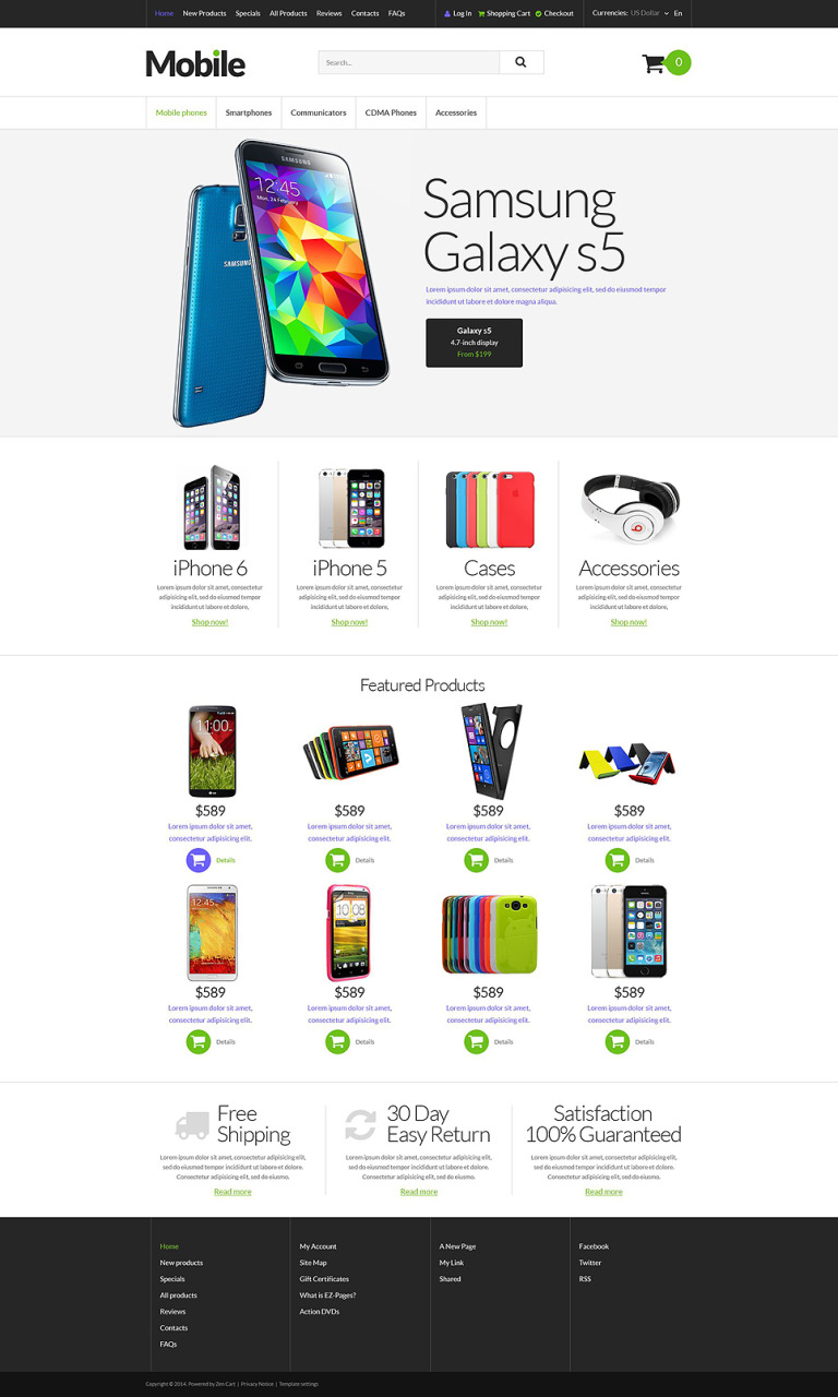 Mobile Devices ZenCart Template New Screenshots BIG