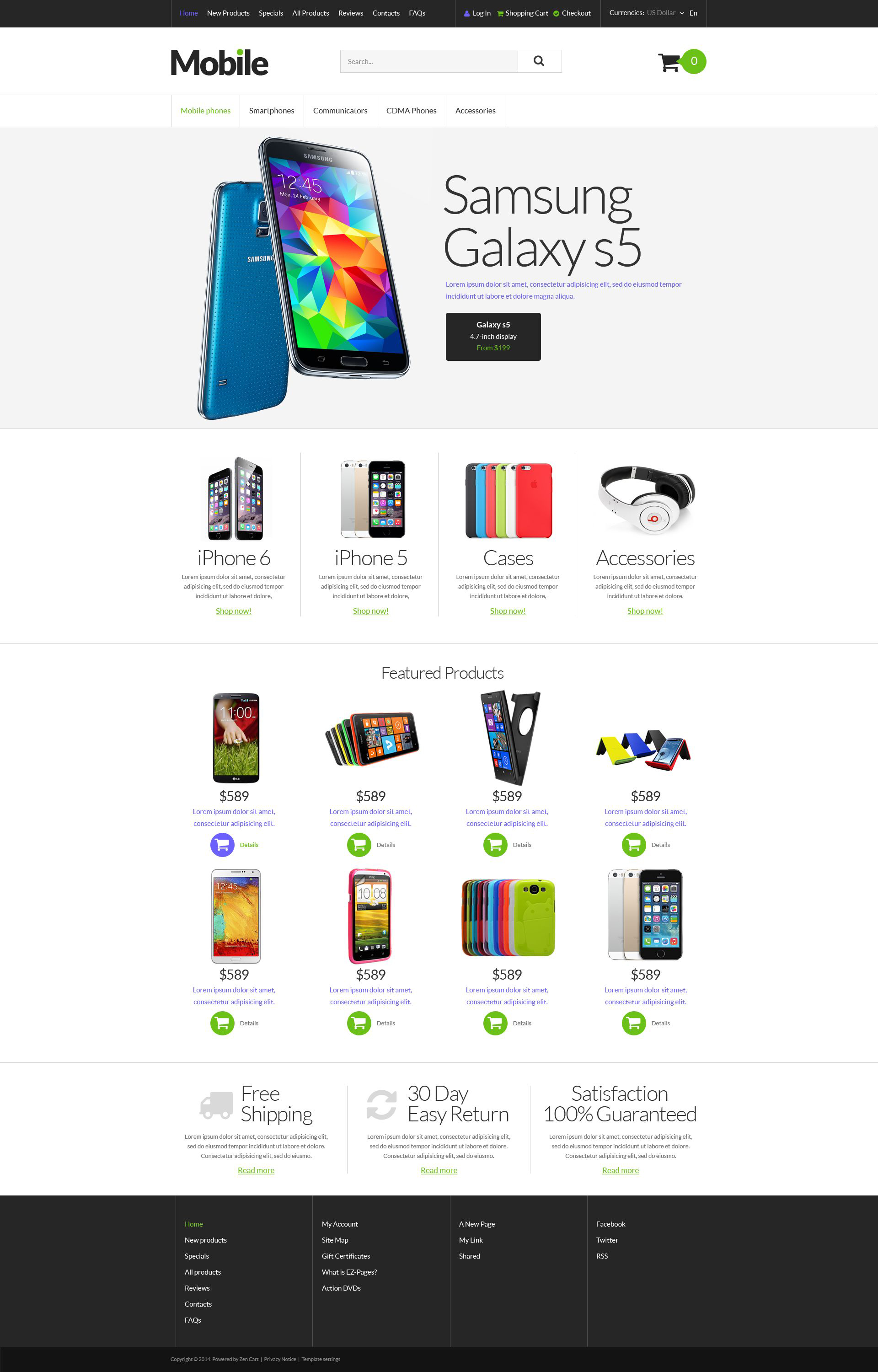 Mobile Devices ZenCart Template