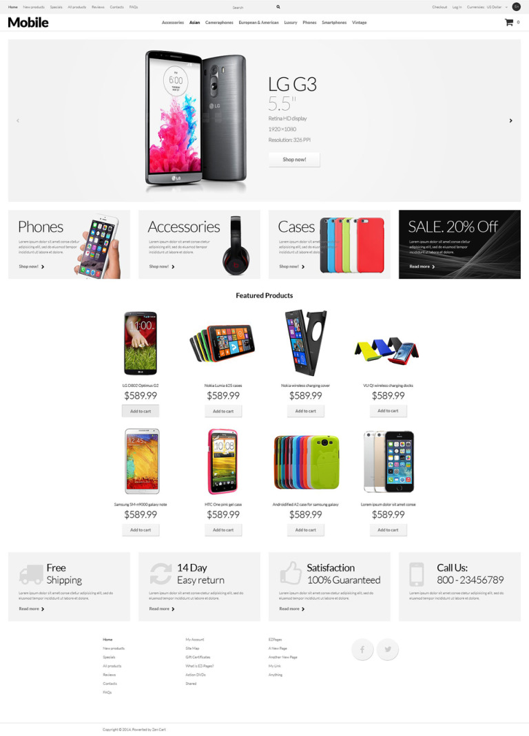 Mobile Phones ZenCart Template New Screenshots BIG