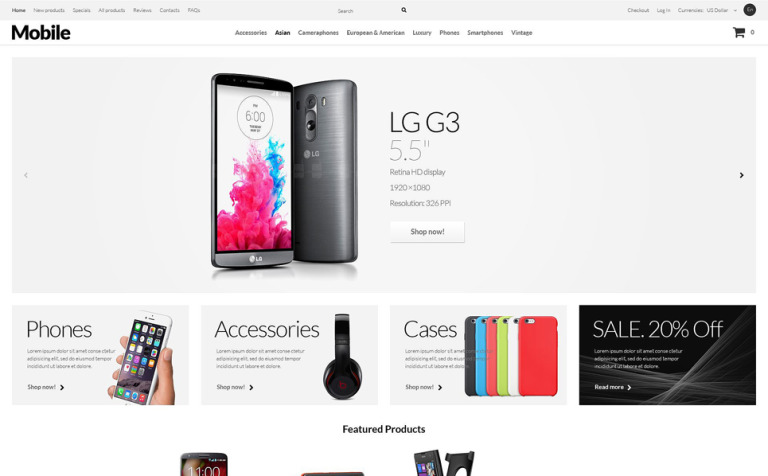 Mobile Phones ZenCart Template