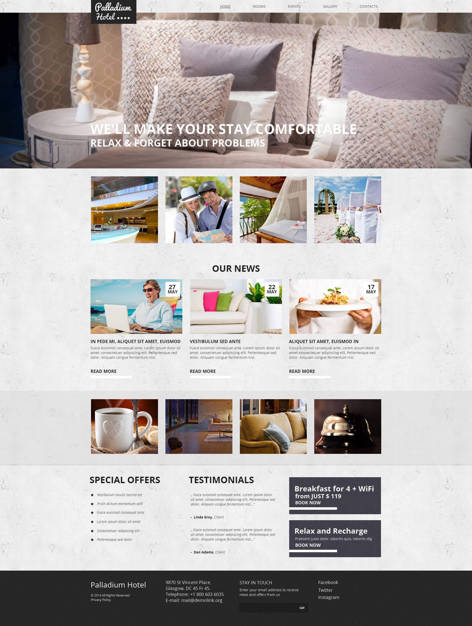 Modèle Moto CMS HTML Premium pour site d'hôtel #51709