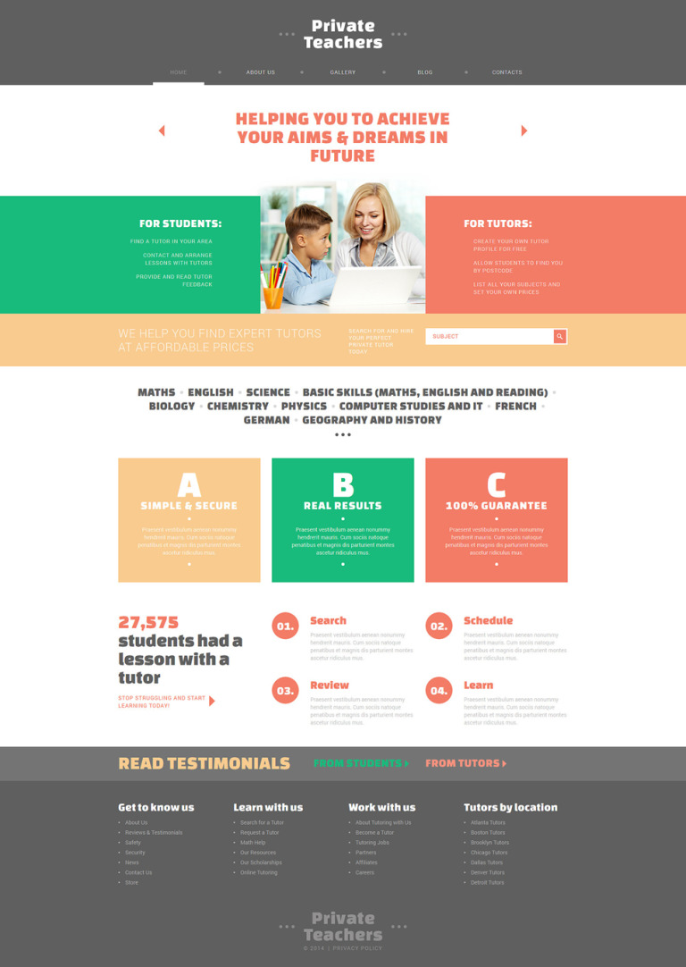 Private Teachers' Assistance Joomla Template New Screenshots BIG