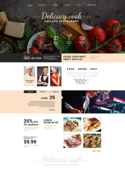 Responsywny szablon Joomla #51745 na temat: kawiarnia i restauracja