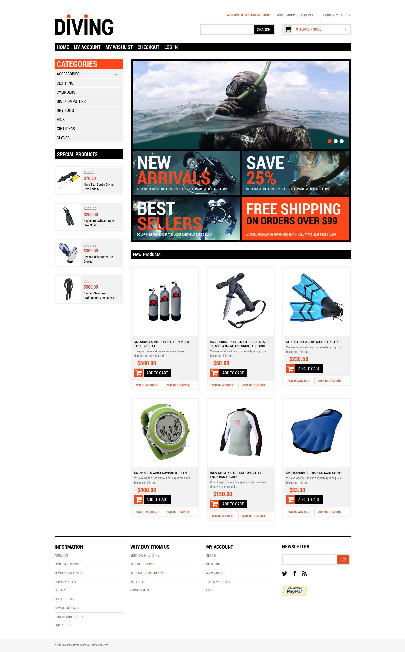 Responsywny szablon Magento Diving Shop #51750