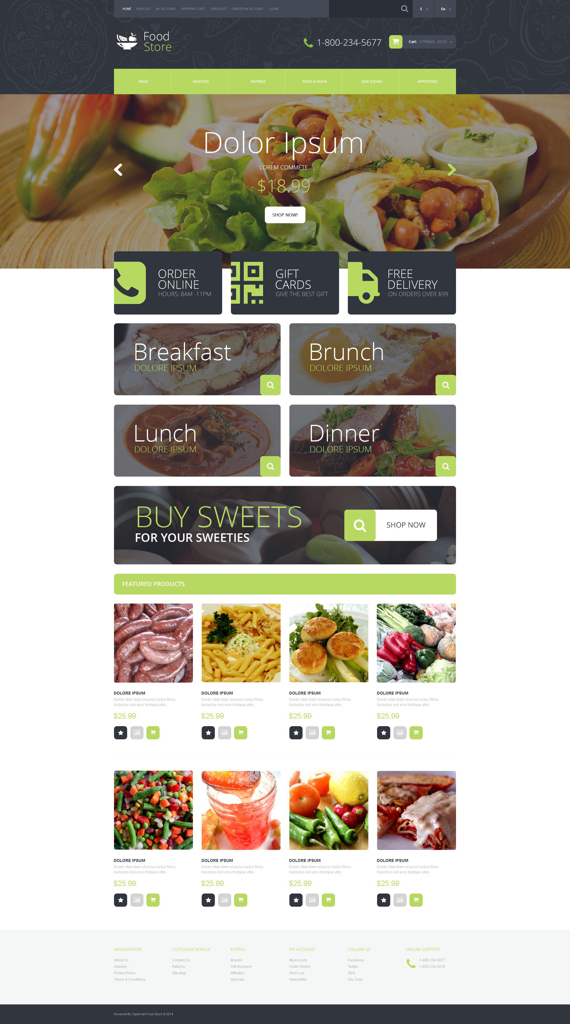 Reszponzív Food Shop OpenCart sablon 51775 - képernyőkép