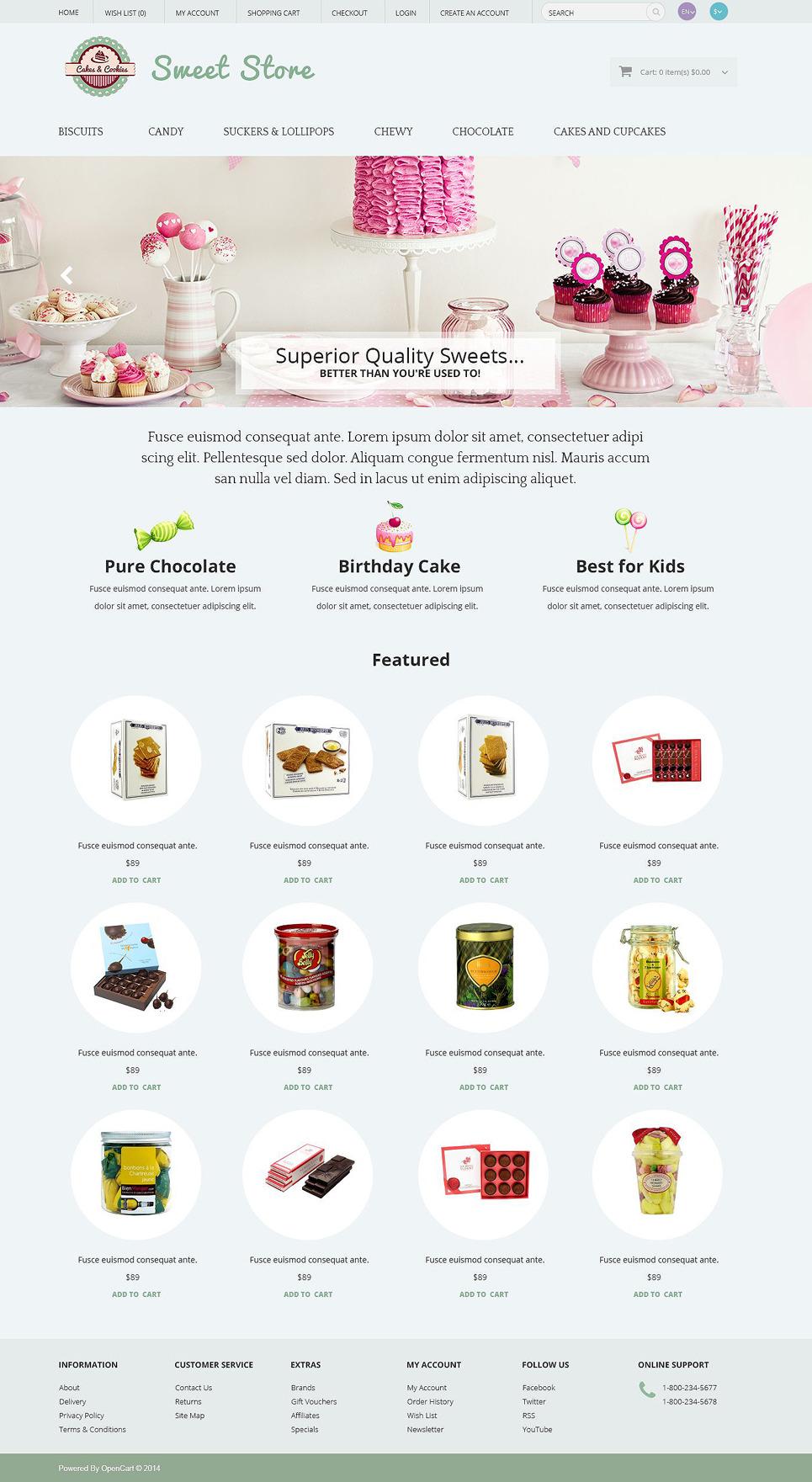 Sweets OpenCart Template New Screenshots BIG