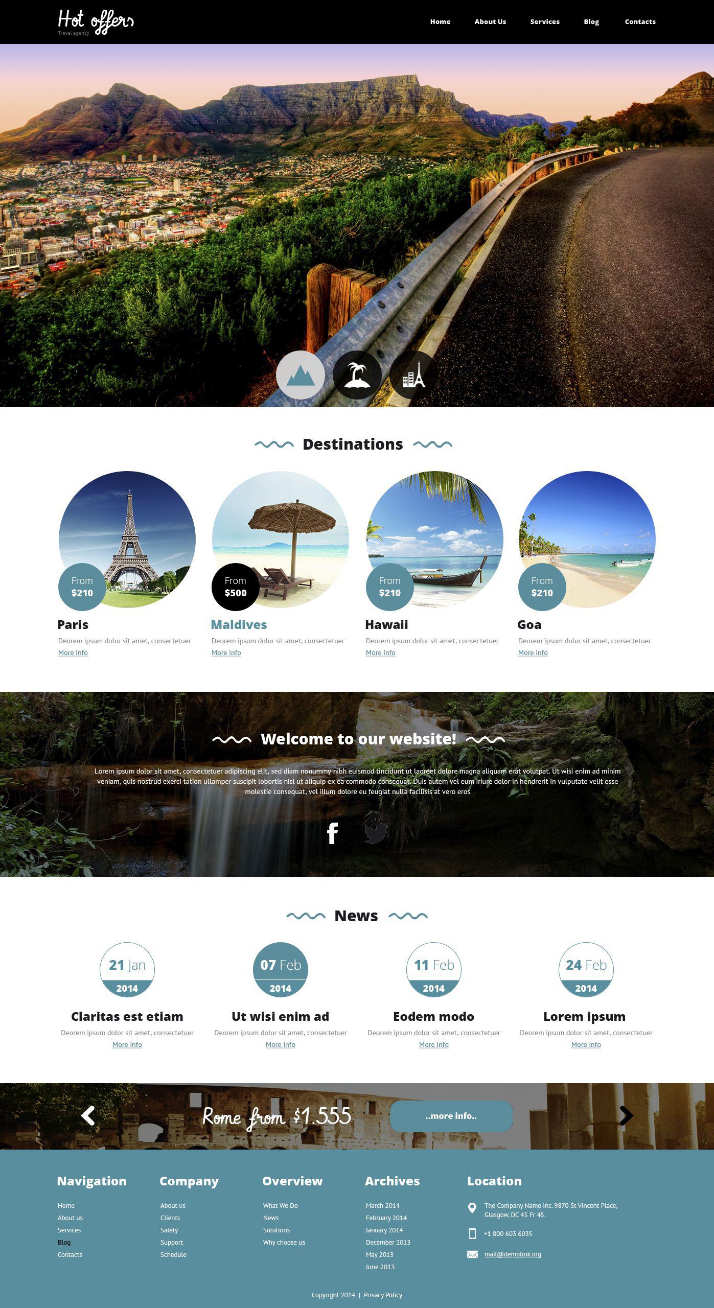 Template Drupal Flexível para Sites de Agencia de Viagens №51792