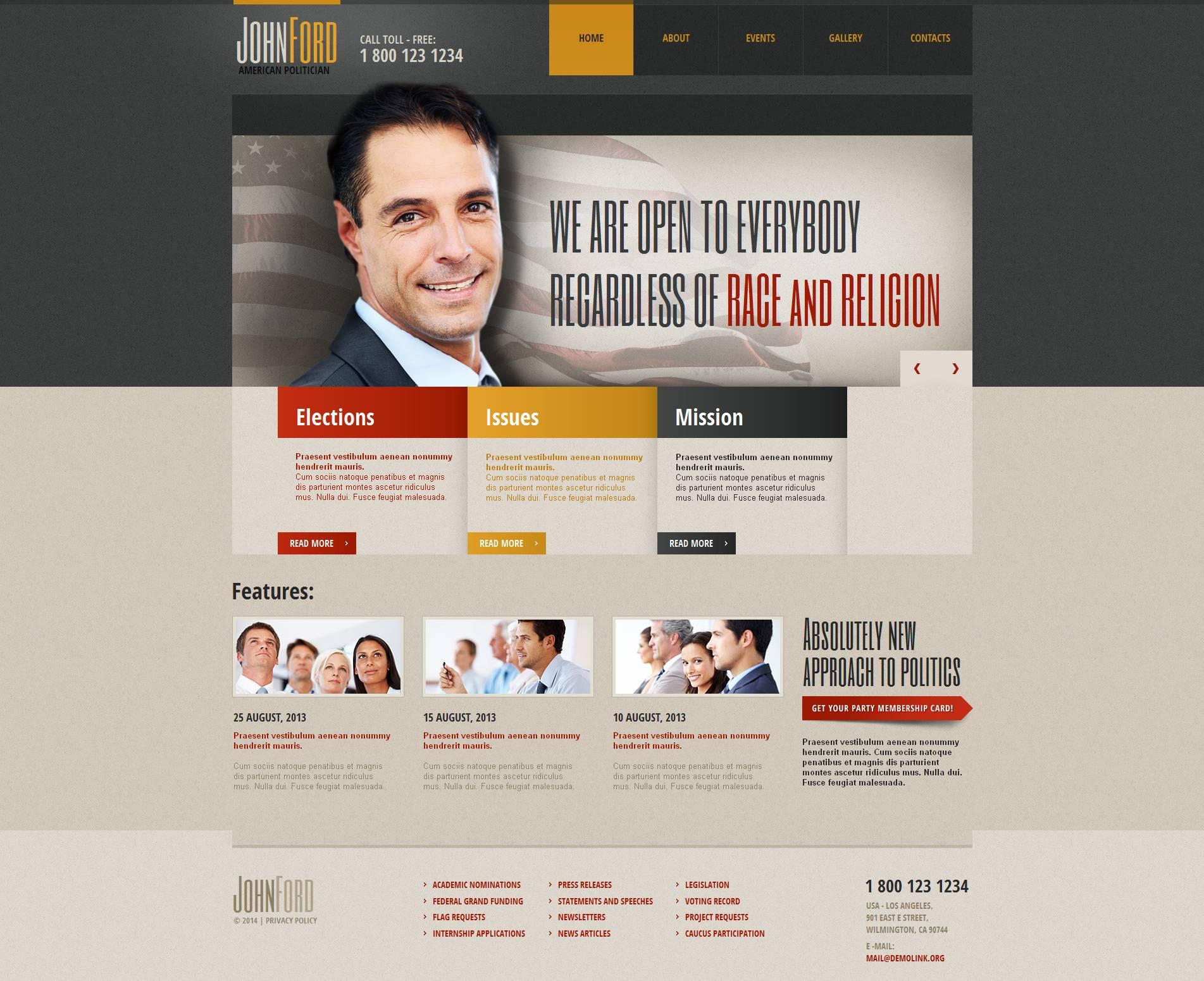 Template Moto CMS HTML para Sites de Cadidato Político №51725 - screenshot