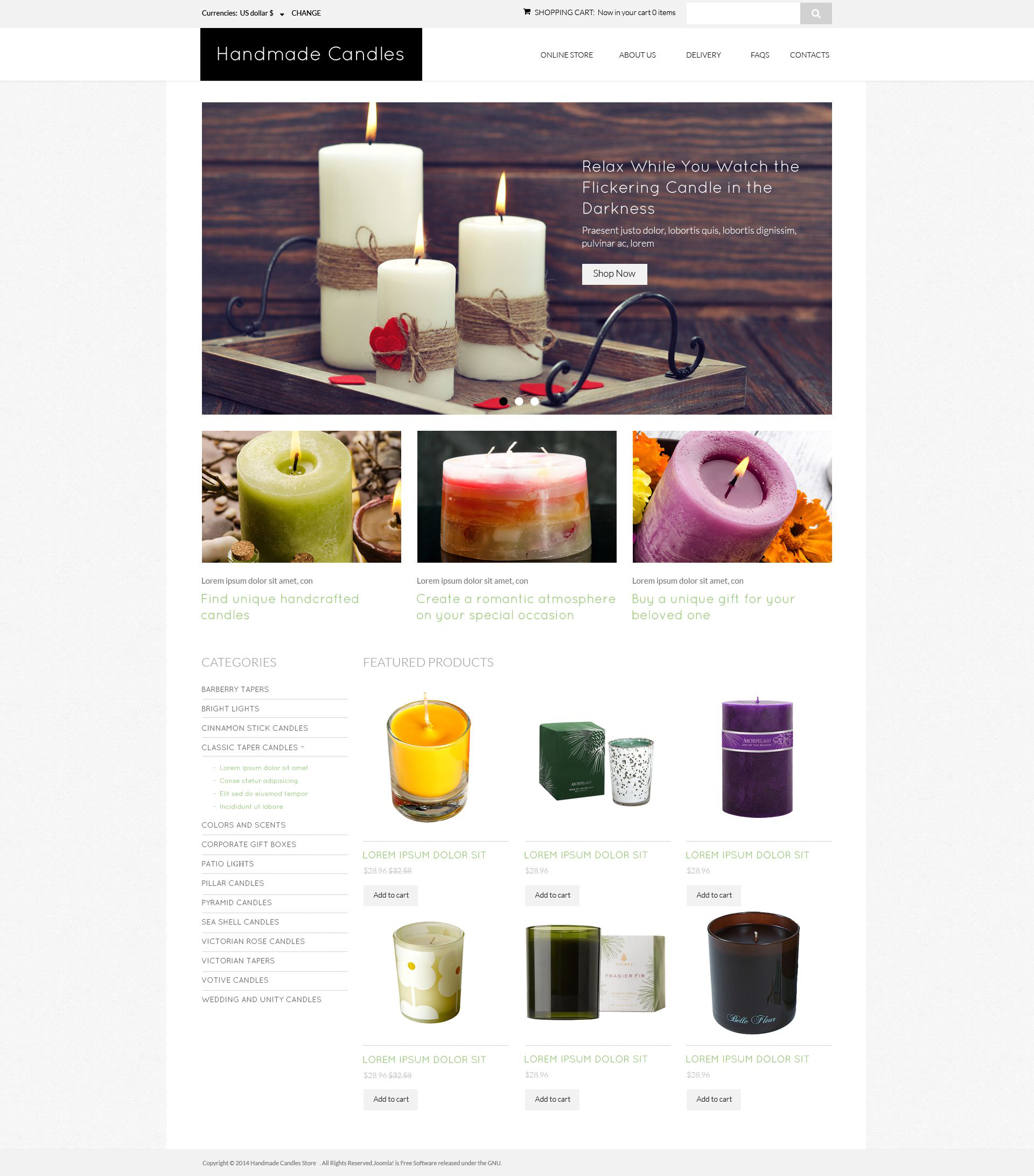 "VirtueMart šablona ""DIY Candles Spot"" #51795"