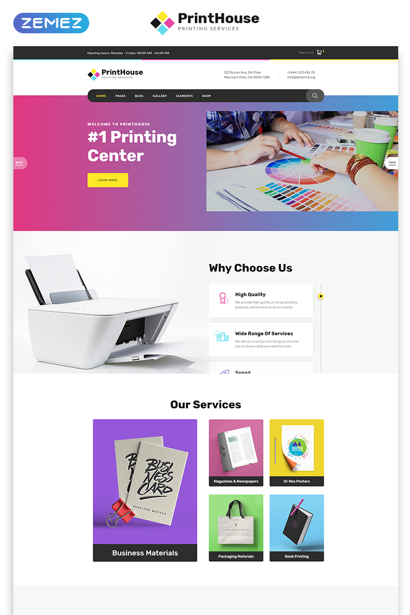 "Website Vorlage namens ""Print House - Print Shop Multipage Modern HTML"" #51780"