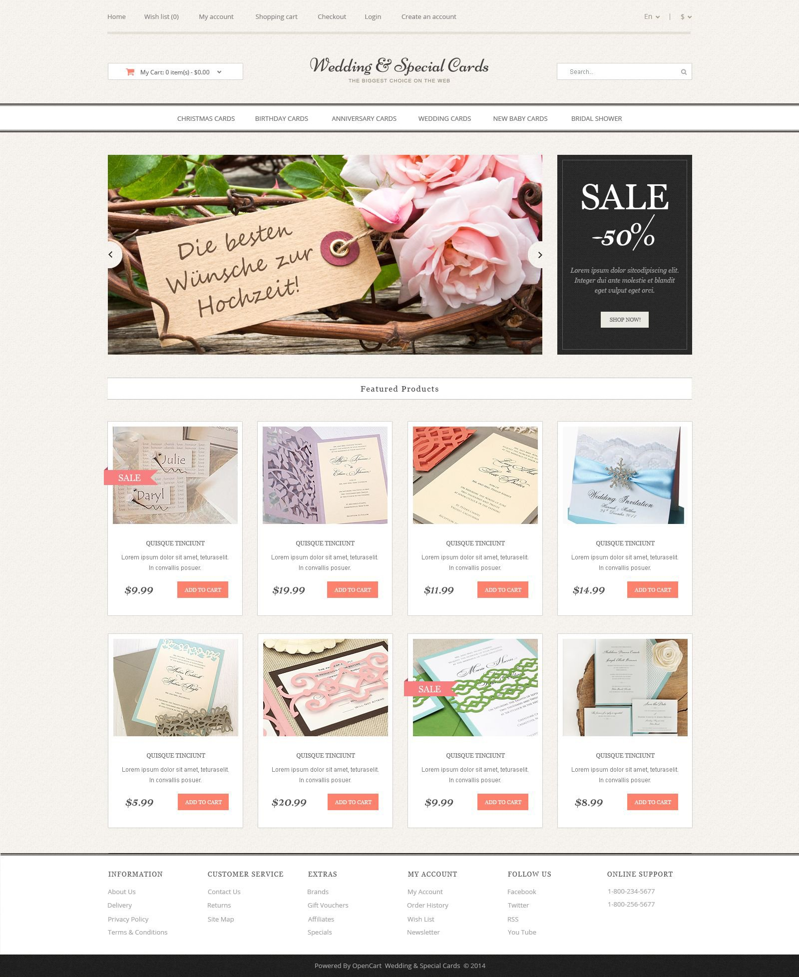 Wedding Cards Store OpenCart Template #51799