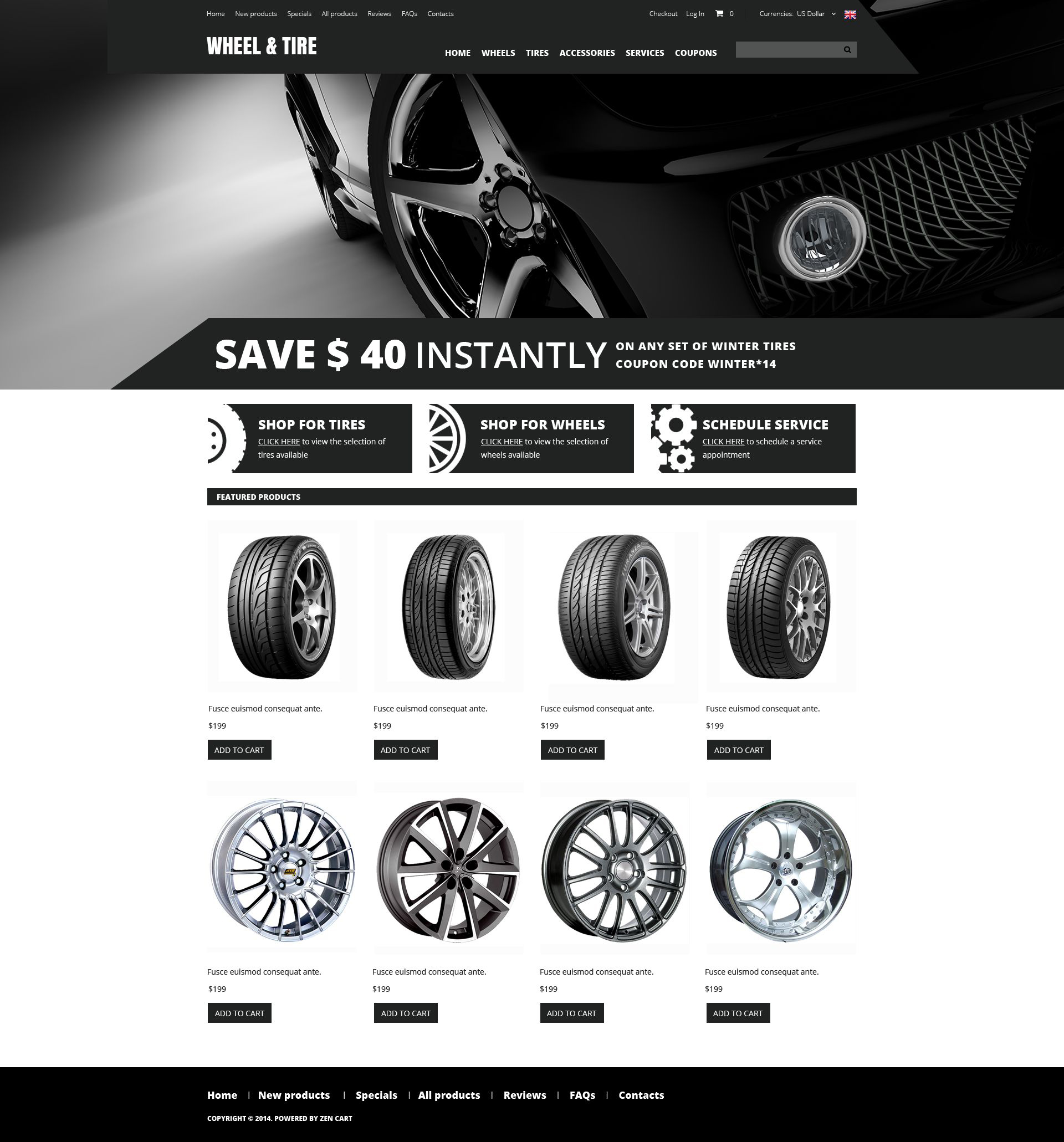 """Wheels and Tyres"" - ZenCart шаблон №51735"