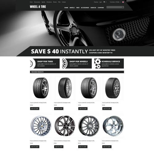 Wheel & Tire - HTML5 ZenCart Template