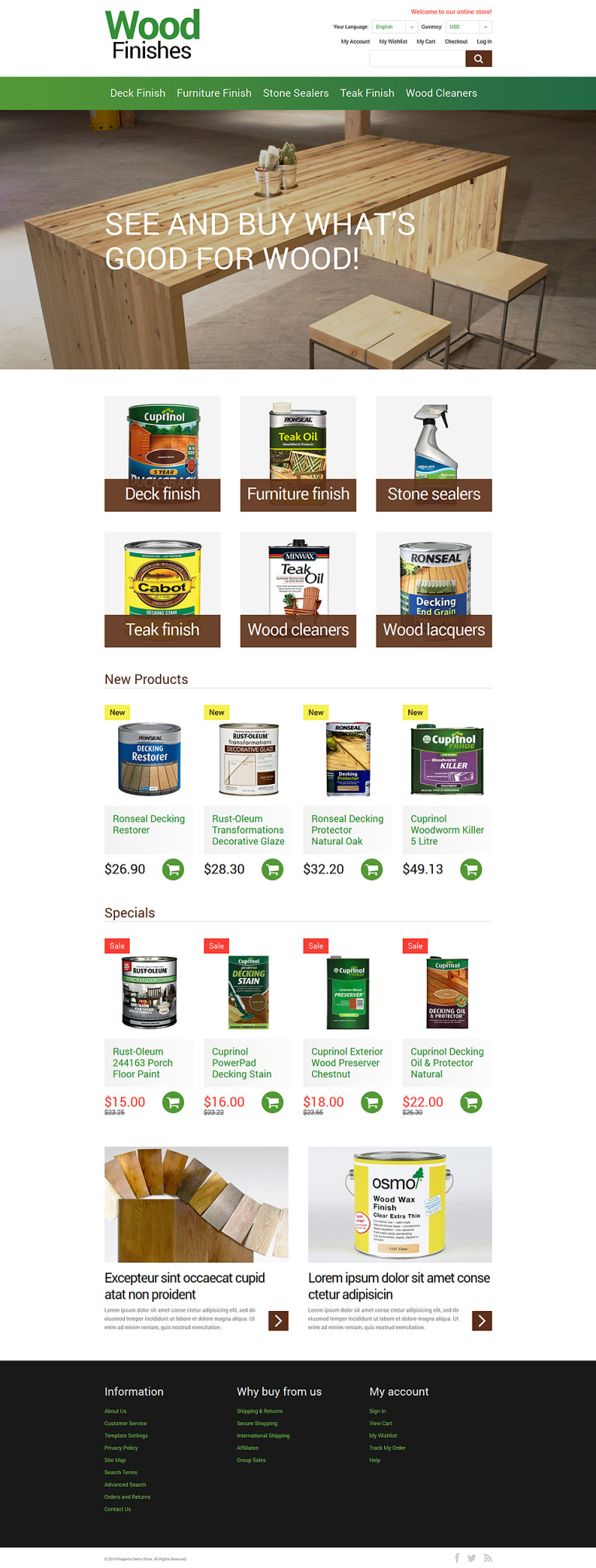 Wood Finishes Promotion Magento Theme New Screenshots BIG