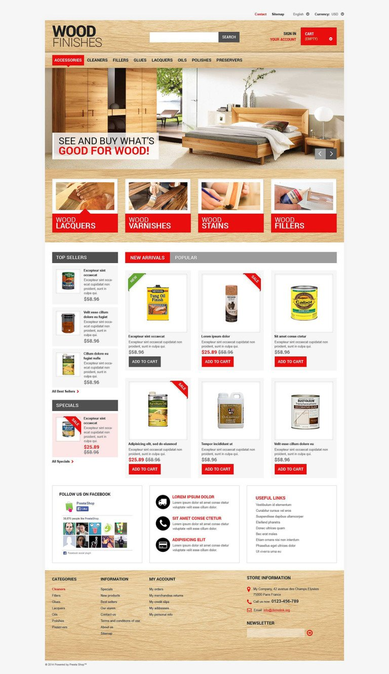 Wood Finishing PrestaShop Theme New Screenshots BIG