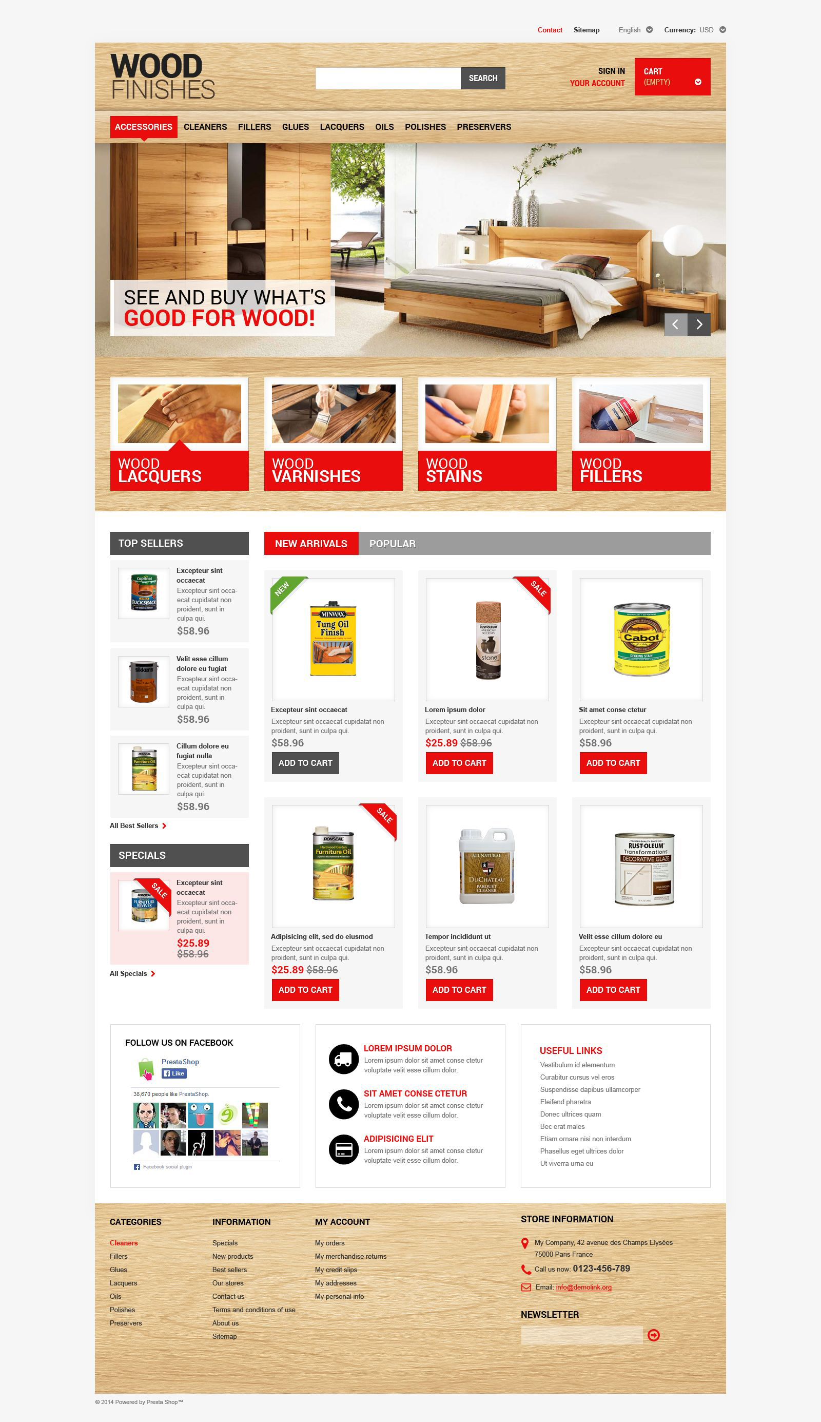 Wood Finishing PrestaShop Theme
