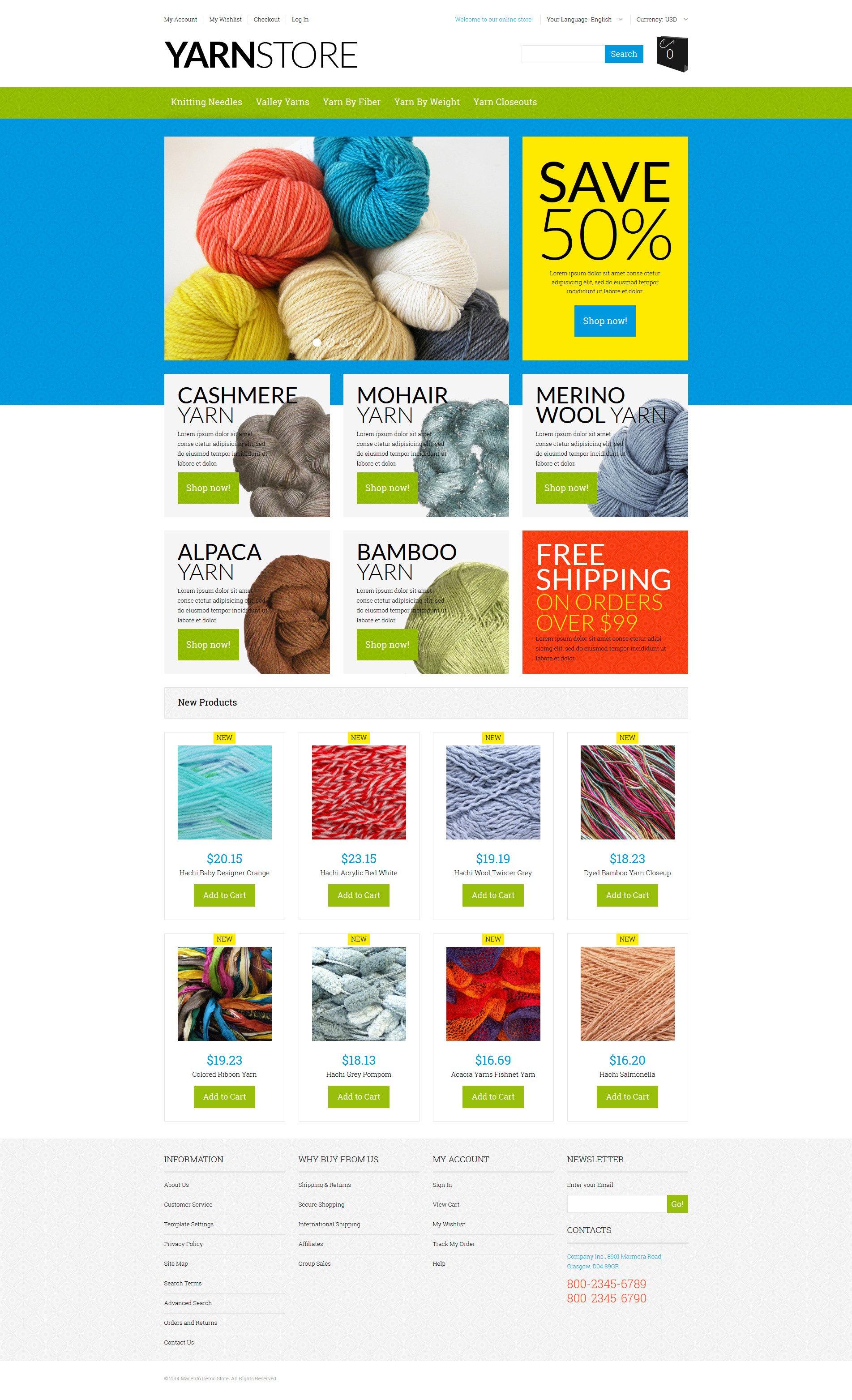 Yarn Online Store Magento Theme - screenshot