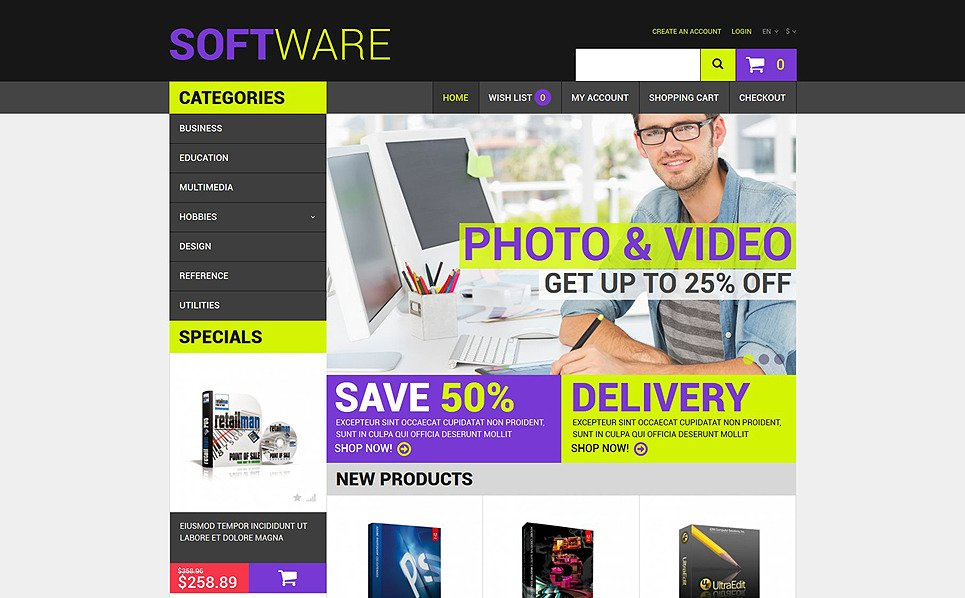 Tema OpenCart Responsive #51807 per Un Sito di Software New Screenshots BIG