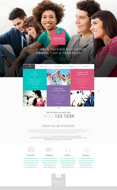 Tonårsklubb Responsivt Hemsidemall