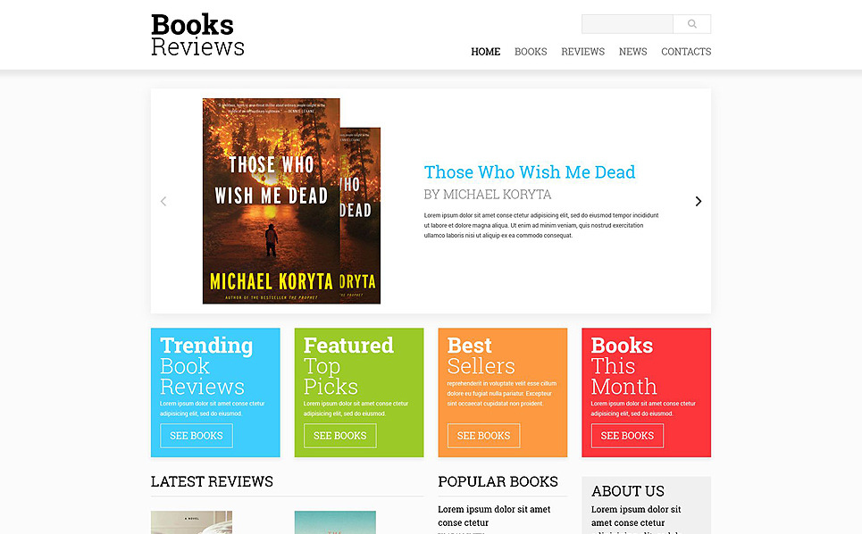 Responsive Kitap Yorumları  Web Sitesi Şablonu New Screenshots BIG