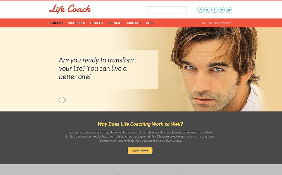 Responsive Website template over Life Coach  New Screenshots BIG