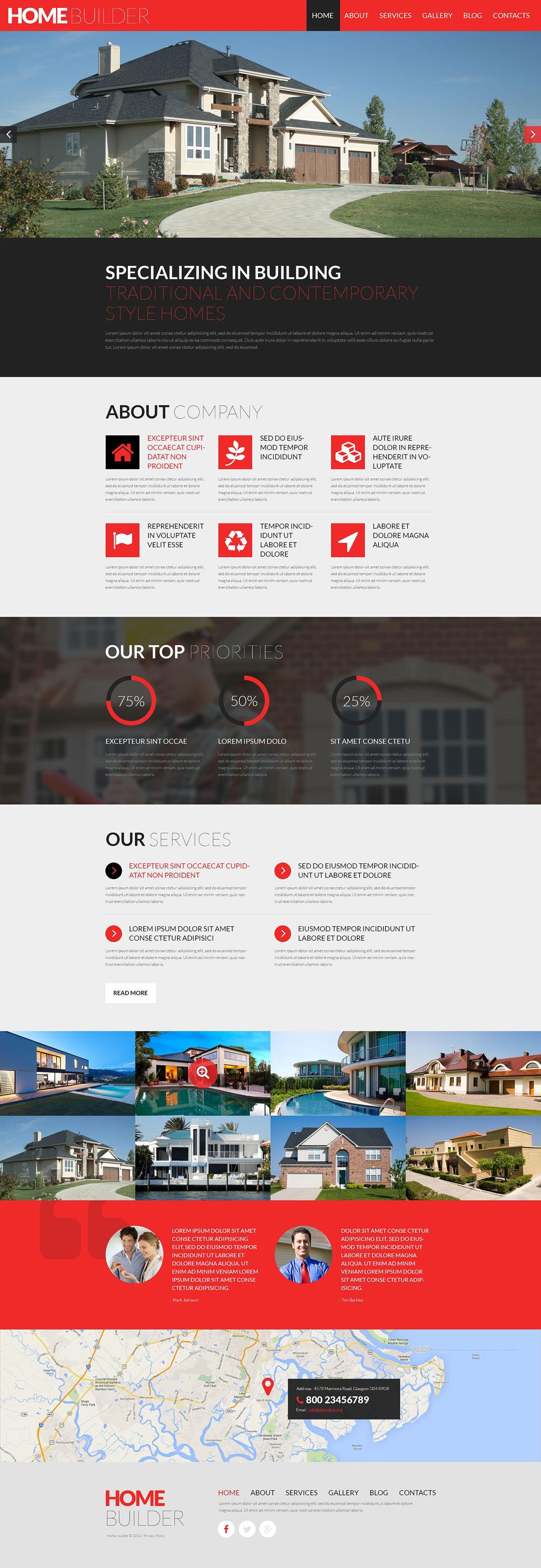 Адаптивный шаблон сайта на тему строительные компании #51813