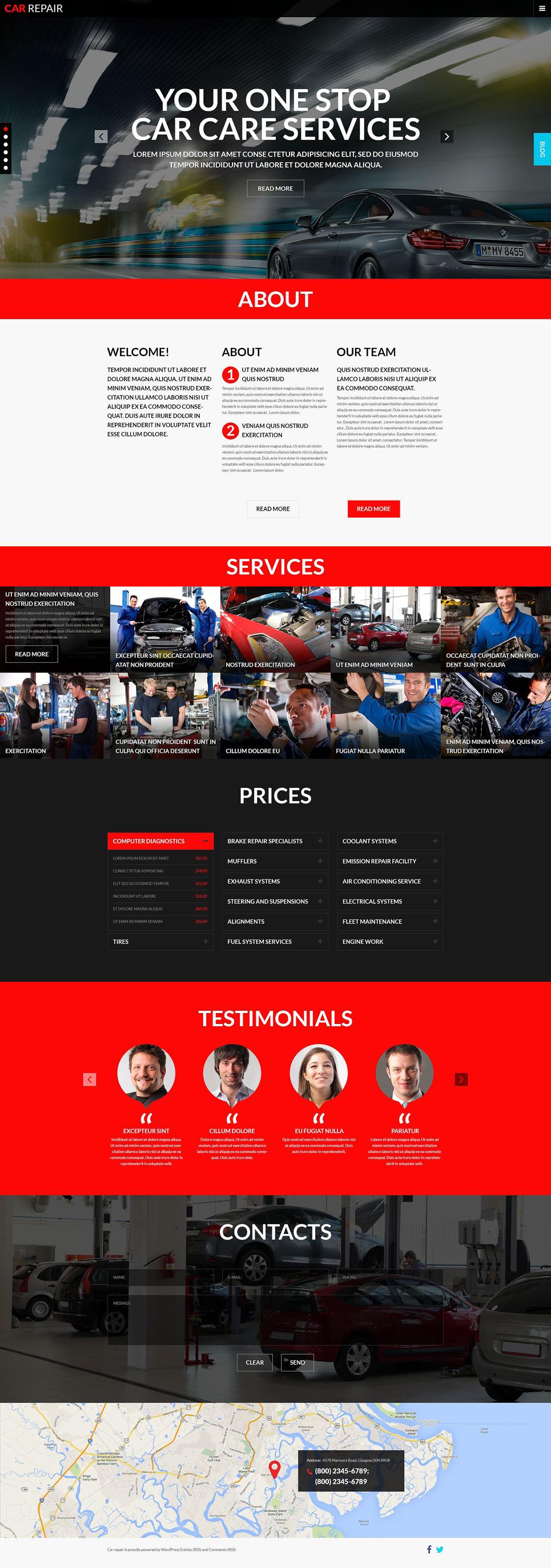 Адаптивный шаблон сайта на тему ремонт авто #51814
