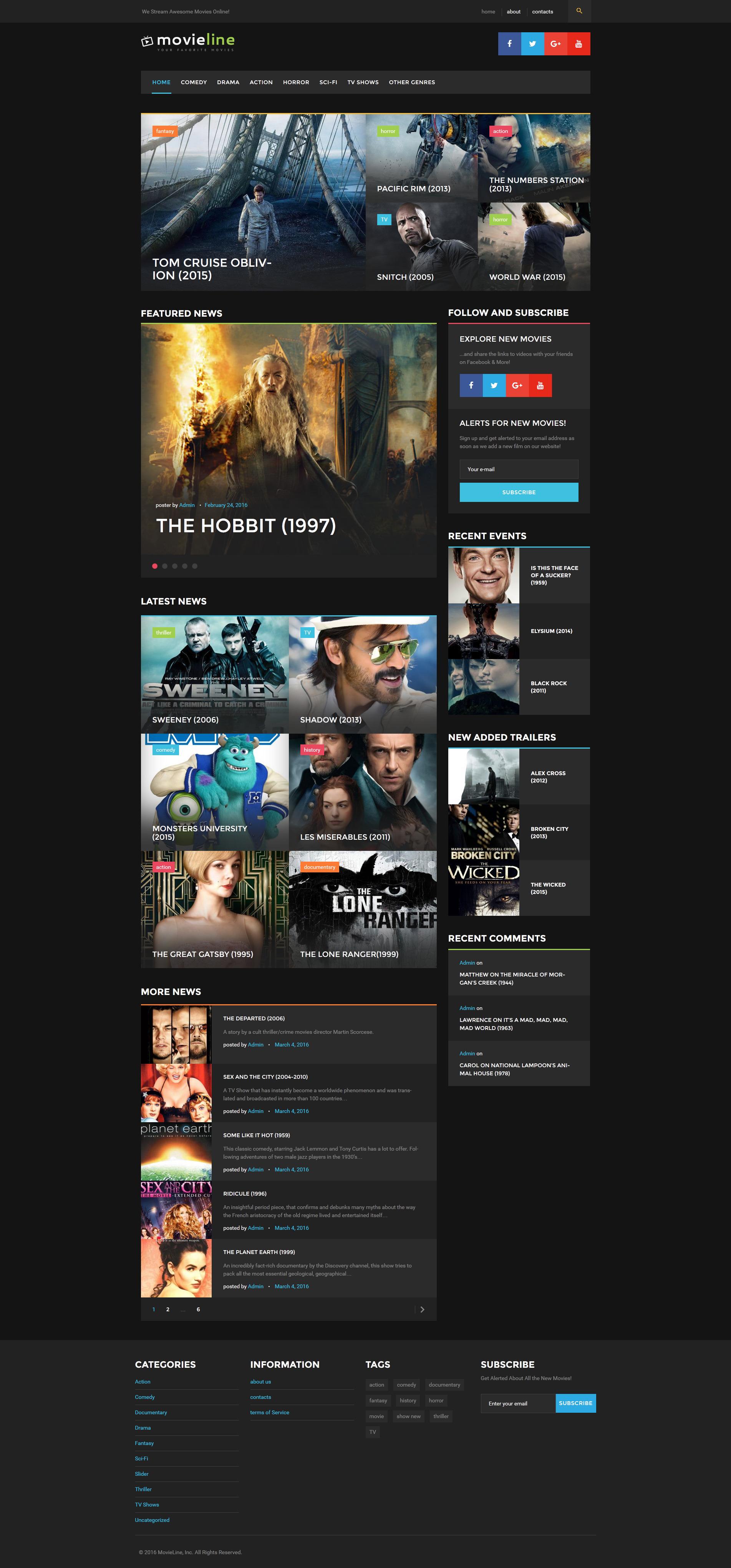 Адаптивный шаблон сайта на тему кино #51822
