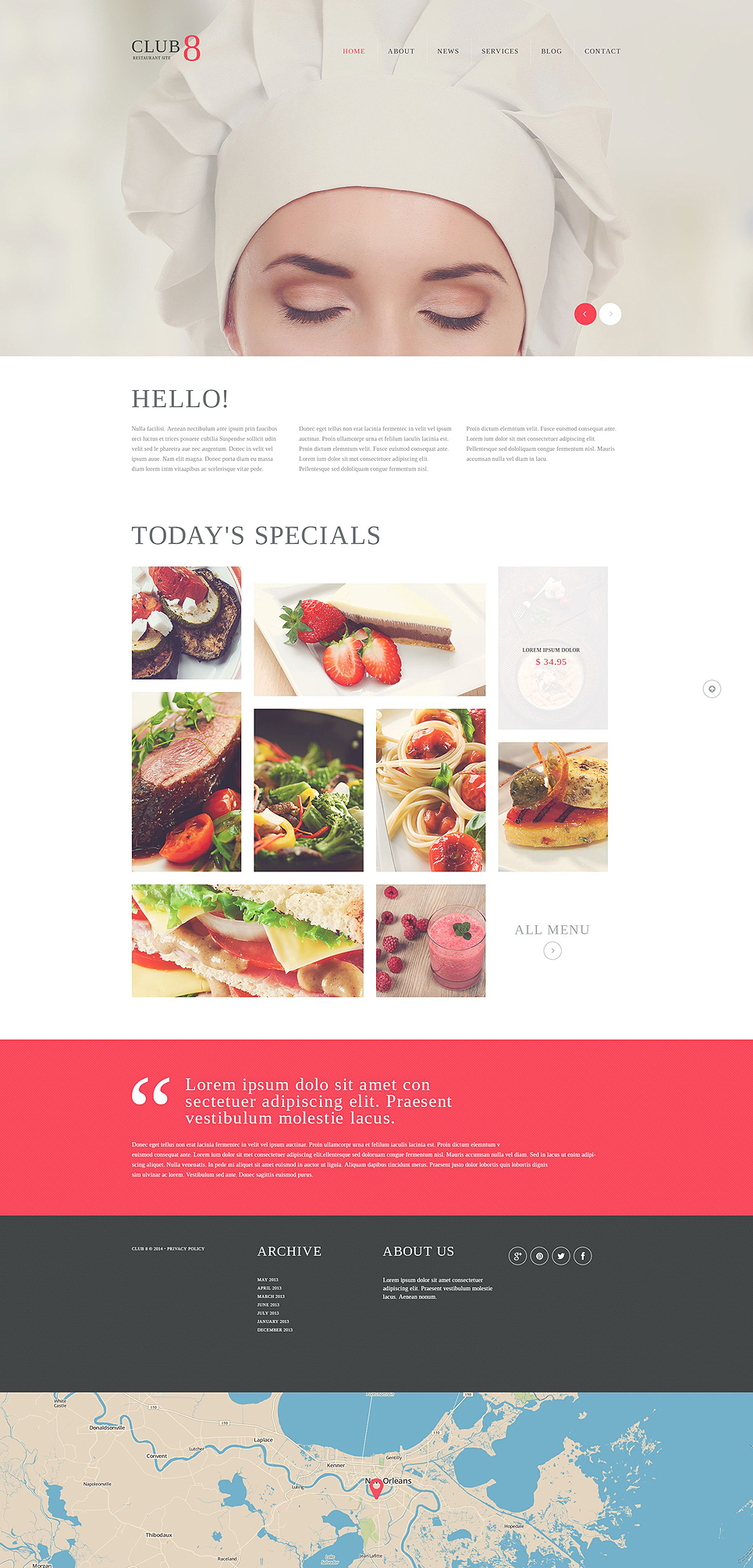 Адаптивный шаблон сайта на тему кафе и ресторан #51842