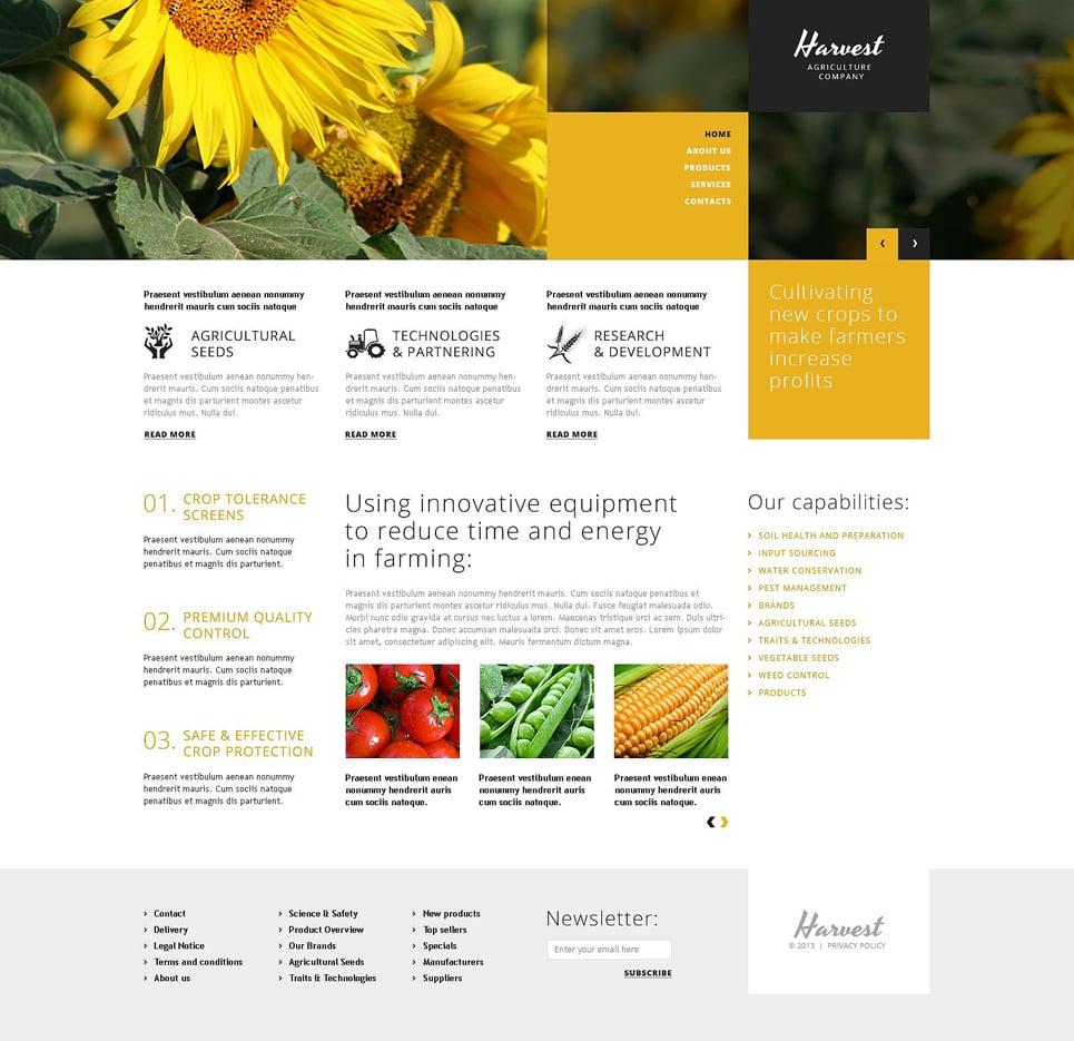 Адаптивный шаблон сайта на тему сельское хозяйство #51881