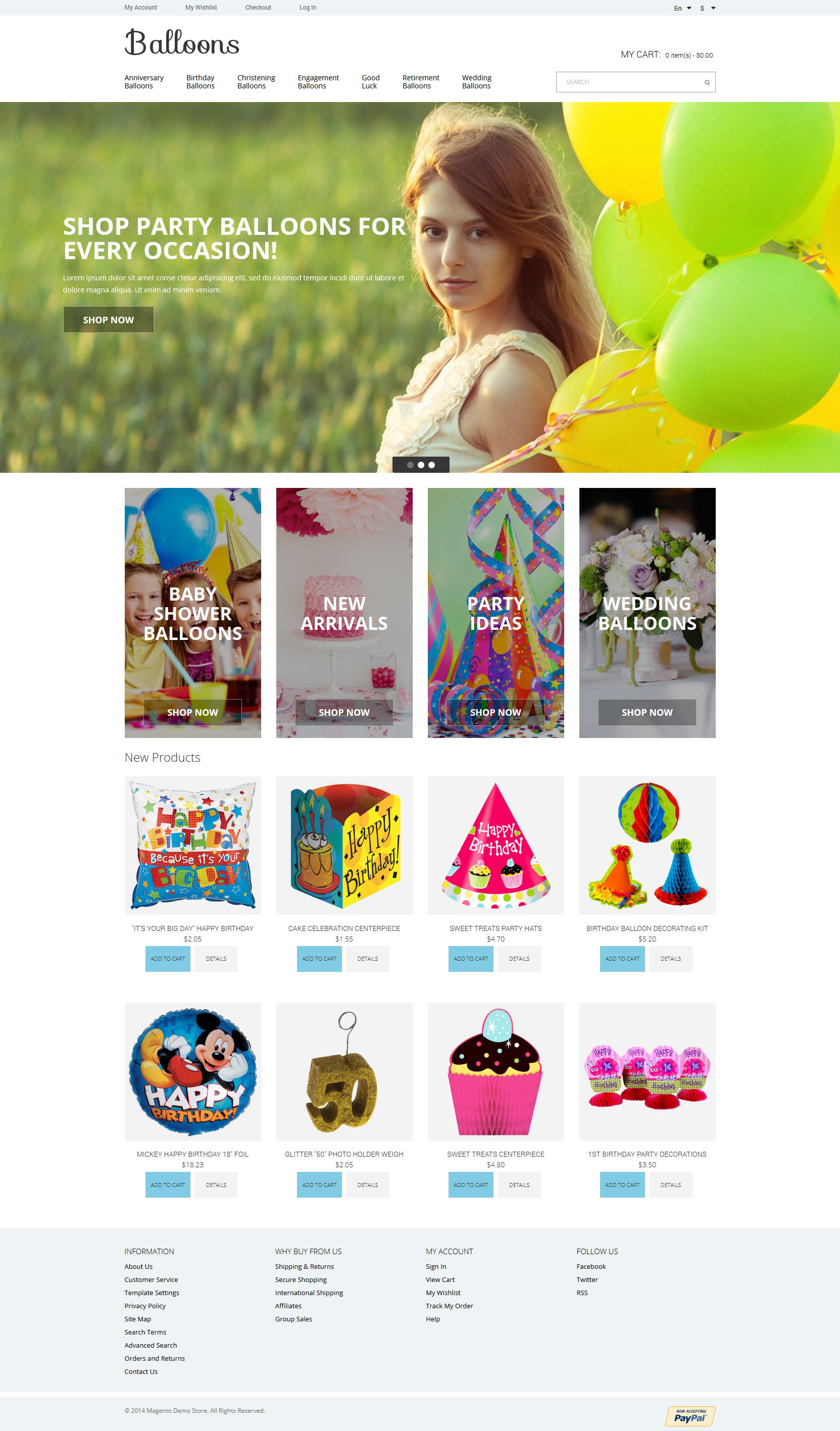 Balloons Joy Magento Theme - screenshot