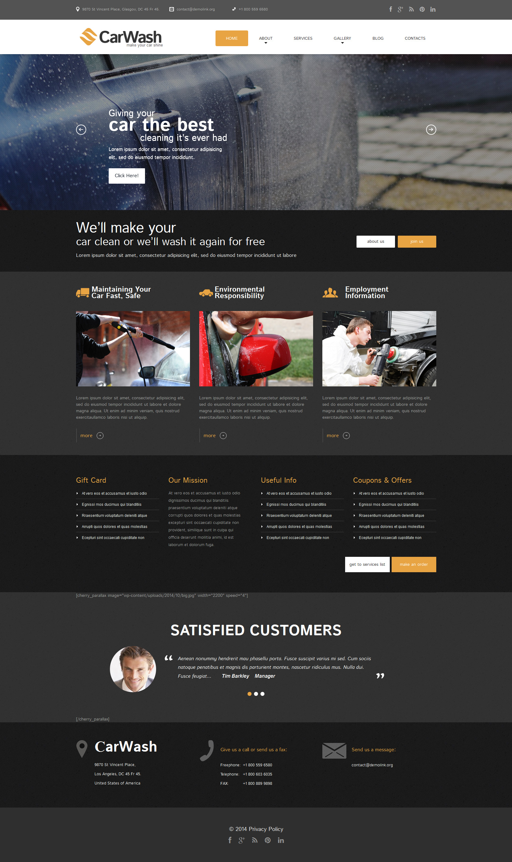 Car Wash Responsive WordPress Theme
