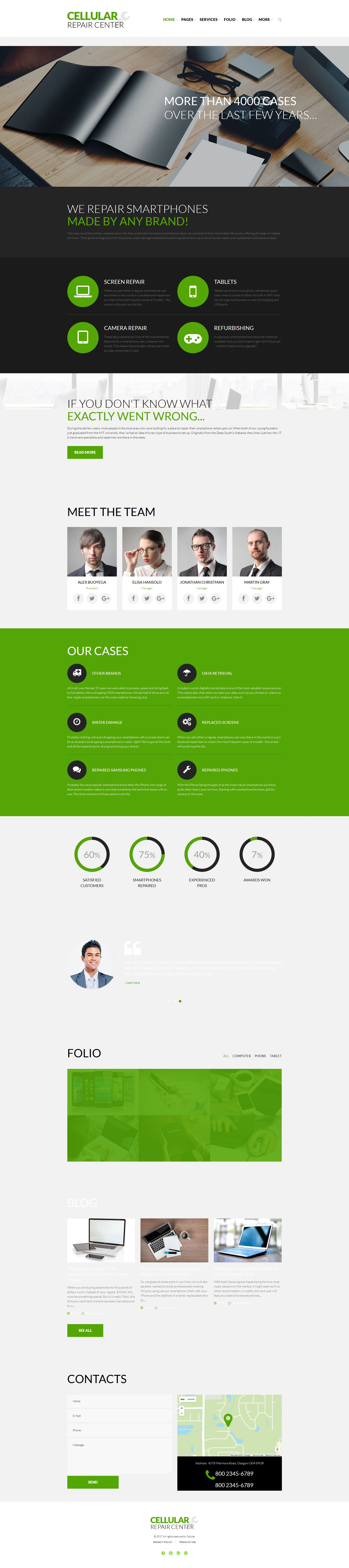 """Cellular Repair Center"" - адаптивний WordPress шаблон №51840 - скріншот"