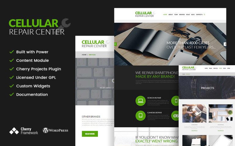 Cellular Repair Center WordPress Theme New Screenshots BIG