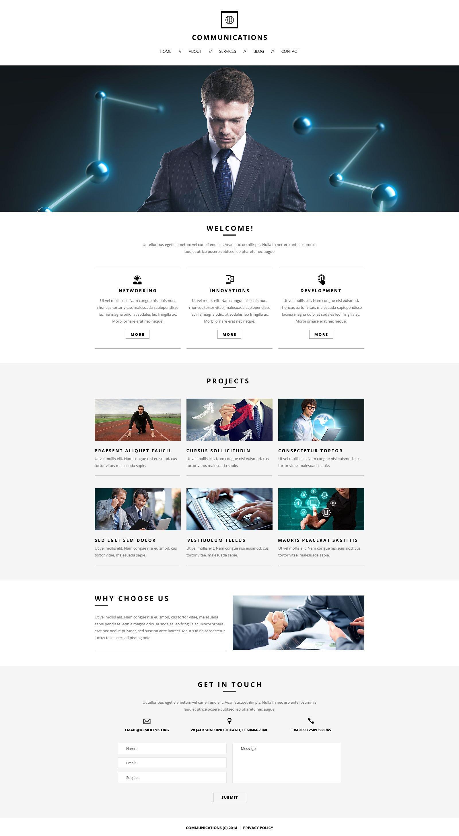 Communications Responsive Website Template Template Web №51874