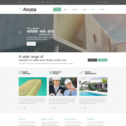 Arcona Architecture Company - WordPress Architecture Company Template