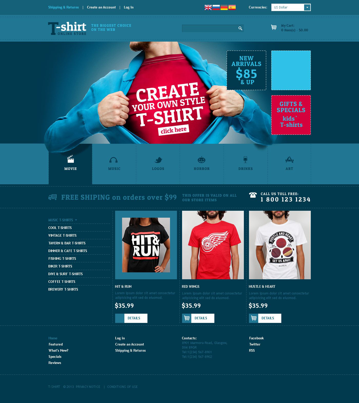 Creative tshirt designs oscommerce template 51885 for T shirt ecommerce website