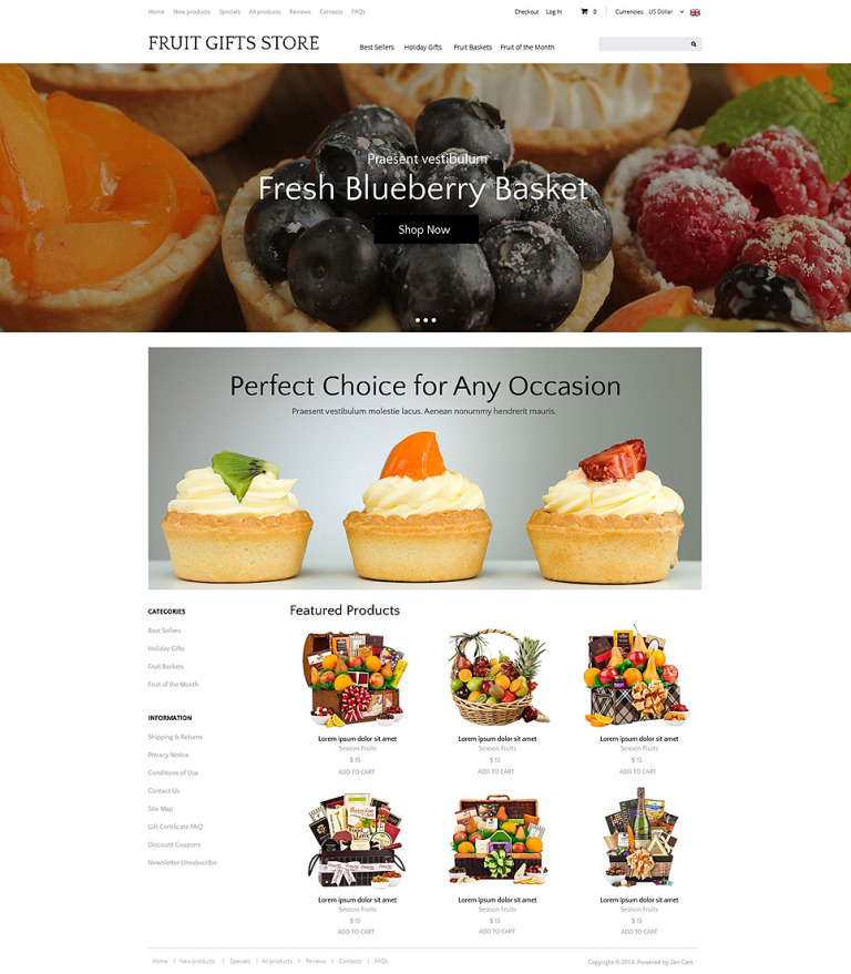 Delicious Gifts ZenCart Template New Screenshots BIG