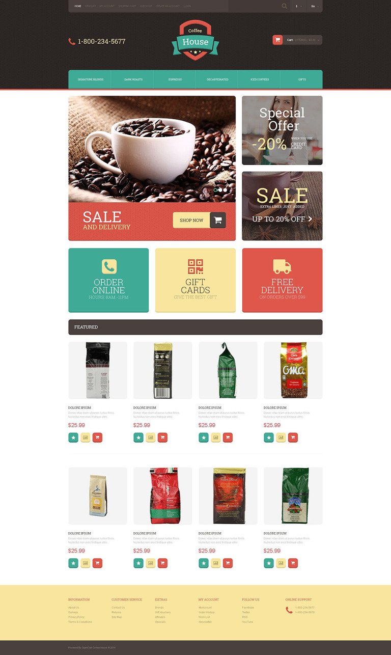 Drink Coffee OpenCart Template New Screenshots BIG